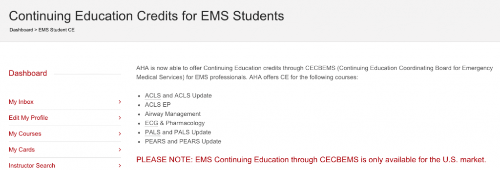 BLS CE Credits for EMS